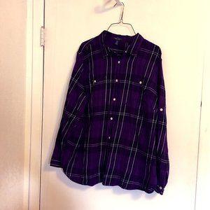 LRL Lauren Jean Co Plaid Purple Cotton Shirt 2X Pl